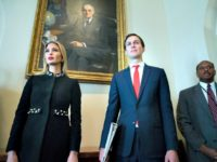 WASHINGTON, DC - MARCH 8: (AFP OUT) White House Senior Advisor Jared Kushner (R) and Ivanka Trump (L) attend a meeting held by US President Donald J. Trump with members of his Cabinet, in the Cabinet Room of the White House in Washington, DC,