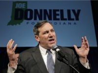 Democrat Joe Donnelly thanks supporters after winning the U.S. Senate seat over Republican Richard Mourdock at an election night celebration in Indianapolis, Tuesday, Nov. 6, 2012. (AP Photo/Michael Conroy)