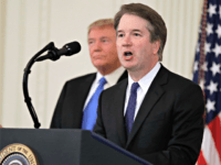 President Donald Trump listens as Judge Brett Kavanaugh his Supreme Court nominee speaks, in the East Room of the White House, Monday, July 9, 2018, in Washington.