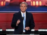 CLEVELAND, OH - JULY 19: U.S. House Majority Leader Rep. Kevin McCarthy (R-CA) delivers a speech on the second day of the Republican National Convention on July 19, 2016 at the Quicken Loans Arena in Cleveland, Ohio. Republican presidential candidate Donald Trump received the number of votes needed to secure …