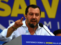 Italys Interior Minister and Deputy Prime Minister Matteo Salvini speaks during for the annual meeting of Italy's far-right Lega Nord (North League) in Pontida, northeast Milan, on July 1, 2018. (Photo by MIGUEL MEDINA / AFP) (Photo credit should read MIGUEL MEDINA/AFP/Getty Images)