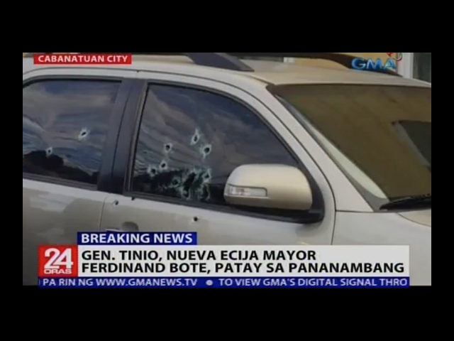 Mayor Ferdinand Bote of General Tinio in Nueva Ecija, Philippines, was pronounced dead Tuesday shortly after a gunman approached his car on a motorcycle and shot him dead in the town, the second assassination of a mayor in the country in as many days.