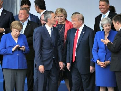 NATO Summit In Brussels - Day Two BRUSSELS, BELGIUM - JULY 12: U.S. President Donald Trump arrives to speak to the media at a press conference on the second day of the 2018 NATO Summit on July 12, 2018 in Brussels, Belgium. Leaders from NATO member and partner states are …