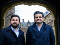 Leader of DENK ('think' in Dutch), the country's first party led by immigrants, Tunahan Kuzu (R) and Selcuk Ozturk pose at the Binnenhof in The Hague, on February 23, 2017