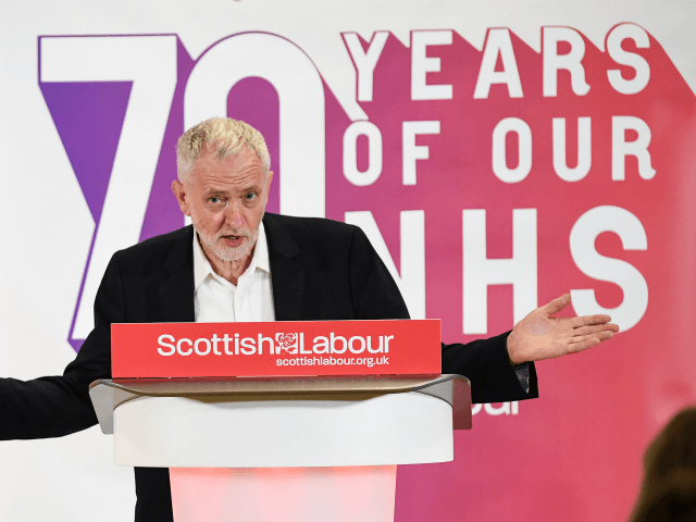 LIVINGSTON, SCOTLAND - JUNE 29: Jeremy Corbyn, Leader of the Labour Party, addresses a NHS rally at the Howden Park Centre on June 29, 2018 in Livingston.Scotland.Mr Corbyn, outlined how future UK Labour government could provide more money for pubic investment and services in Scotland on a visit to Livingston. …