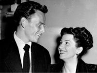 In this Oct. 23, 1946 file photo, singer Frank Sinatra and his wife Nancy smile broadly as they leave a Hollywood night club following a surprise meeting. Nancy Sinatra Sr., the childhood sweetheart of Frank Sinatra who became the first of his four wives and the mother of his three …