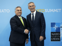 Hungarian Prime Minister Viktor Orban (L) is welcomed by NATO Secretary General Jens Stoltenberg (R) as he arrives for the NATO (North Atlantic Treaty Organization) summit, at the NATO headquarters in Brussels, on July 11, 2018. (Photo by Francois Mori / POOL / AFP) (Photo credit should read FRANCOIS MORI/AFP/Getty …