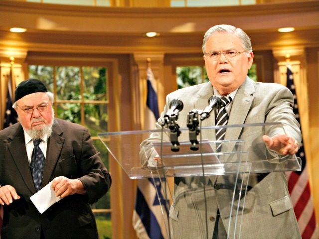 "Rabbi Aryeh Scheinburg, left, of Congregation Rodefei Shalom Synagogue in San Antonio, listens as the Rev. John Hagee speaks during a news conference held at the Cornerstone Church in San Antonio on Friday, May 23, 2008. The Texas pastor and televangelist says his life's work has been ""mischaracterized and attacked"" …"