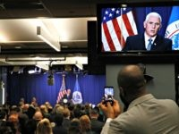 "Vice President Mike Pence speaks at U.S. Immigration and Customs Enforcement (ICE) headquarters, Friday, July 6, 2018, in Washington. Pence is defending federal immigration authorities charged with detaining and deporting unauthorized immigrants and accusing Democrats of making opposition to the agency the ""center"" of their party."