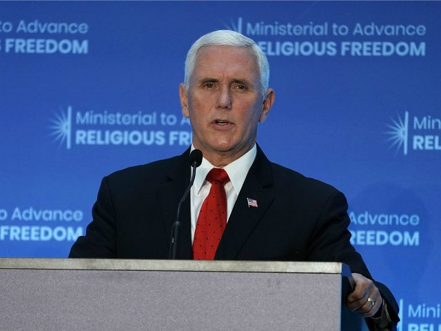 U.S. Vice President Mike Pence speaks during the first-ever Ministerial to Advance Religious Freedom July 26, 2018 at the U.S. Department of State in Washington, D.C. Secretary of State Michael Pompeo hosts 'government officials, representatives of international organizations, religious leaders, rights advocates, and members of civil society organizations from around …