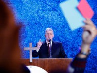 In this Friday, Dec. 8, 2017, file photo, evangelical preacher Franklin Graham speaks in Hanoi, Vietnam. Graham says he is coming to Berkeley, Calif., Friday, June 1, 2018, in peace and in a longshot attempt to sway some voters to support evangelic Christian candidates. The outspoken supporter of President Donald …