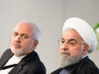 Iranian President Hassan Rouhani (R) and Mohammad Javad Zarif, Iran's foreign secretary, at the Austrian Chamber of Commerce on July 4, 2018 in Vienna, Austria. Rouhani is on a one-day visit to Austria, during which he is meeting with President van der Bellen and Chancellor Kurz and will attend an …