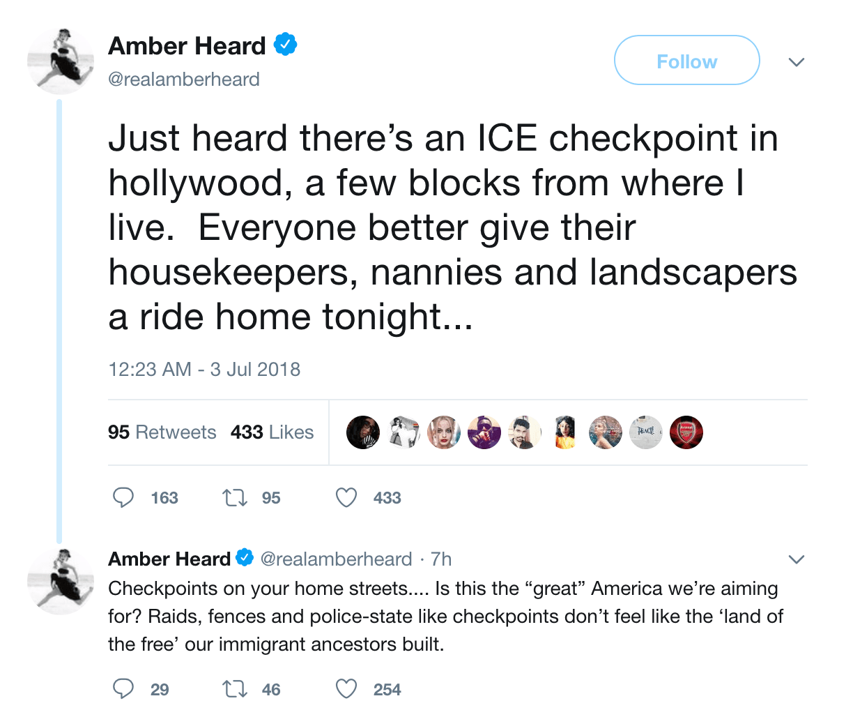 Amber Heard slammed for warning nannies and landscapers about ICE checkpoint