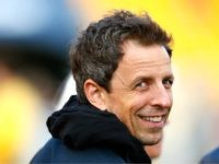 Seth Myers hangs out before the start of the game between the Pittsburgh Steelers and Cincinnati Bengals at Heinz Field on November 1, 2015 in Pittsburgh, Pennsylvania. (Photo by Jared Wickerham/Getty Images)