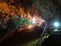 Rescuers work to extract Thai soccer team from cave in Thailand.