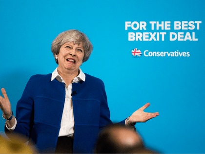 WOLVERHAMPTON, ENGLAND - MAY 30: Prime Minister Theresa May speaks at a campaign rally at The Grand Station on May 30, 2017 in Wolverhampton, England. Britain goes to the polls on June 8 to elect a new parliament in a general election. (Photo by Christopher Furlong/Getty Images)