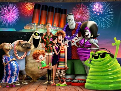 Steve Buscemi, Fran Drescher, Adam Sandler, David Spade, Kevin James, Molly Shannon, Genndy Tartakovsky, Keegan-Michael Key, Selena Gomez, Andy Samberg, and Asher Blinkoff in Hotel Transylvania 3: Summer Vacation (Columbia Pictures, 2018)