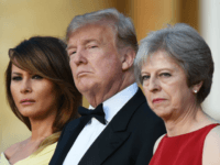 WOODSTOCK, ENGLAND - JULY 12: Britain's Prime Minister Theresa May and her husband Philip May greet U.S. President Donald Trump, First Lady Melania Trump at Blenheim Palace on July 12, 2018 in Woodstock, England. Blenheim Palace is the birth place of the great wartime British Prime Minister, Winston Churchill, of …