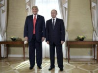 US President Donald Trump (L) and Russia's President Vladimir Putin pose ahead a meeting in Helsinki, on July 16, 2018. - The US and Russian leaders opened an historic summit in Helsinki, with Donald Trump promising an 'extraordinary relationship' and Vladimir Putin saying it was high time to thrash out …