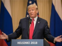 President Donald Trump answers questions about the 2016 U.S Election collusion during a joint press conference with Russian President Vladimir Putin after their summit on July 16, 2018 in Helsinki, Finland. The two leaders met one-on-one and discussed a range of issues including the 2016 U.S Election collusion. (Photo by …