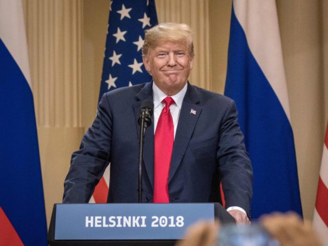 HELSINKI, FINLAND - JULY 16: U.S. President Donald Trump smiles as he arrives to a joint press conference with Russian President Vladimir Putin after their summit on July 16, 2018 in Helsinki, Finland. The two leaders met one-on-one and discussed a range of issues including the 2016 U.S Election collusion. …