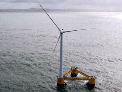 A picture taken on March 5, 2014 off the coast of Agucadoura, near Porto, shows a 'Windfloat,' or floating wind turbine