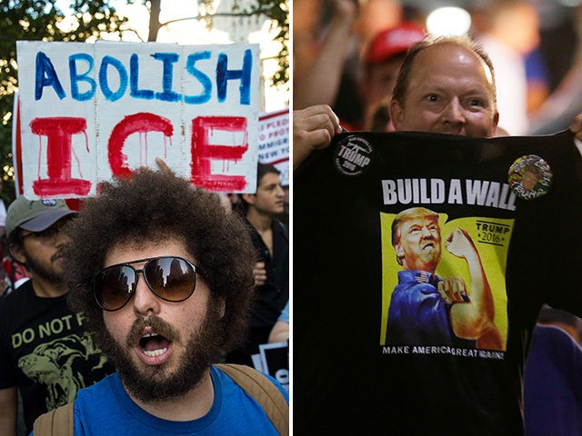 "Dueling demonstrators on immigration display signs and t-shirts saying ""Abolish ICE"" and ""Build a Wall."""