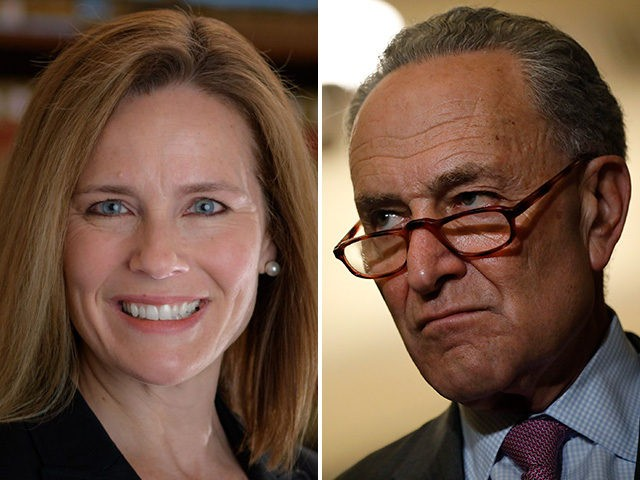 Amy Coney Barrett, a potential nominee for the Supreme Court, and Sen. Chuck Schumer (D-NY).