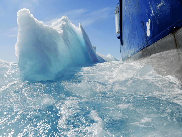 n this July 21, 2017 file photo, broken sea ice emerges from under the hull of the Finnish icebreaker MSV Nordica as it sails through the Victoria Strait while traversing the Arctic's Northwest Passage. After 24 days at sea and a journey spanning more than 10,000 kilometers (6,214 miles), the …