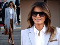 Fashion Notes: Melania Trump Stuns in Finland Wearing Ice Blue Coat by Emerging American Designer