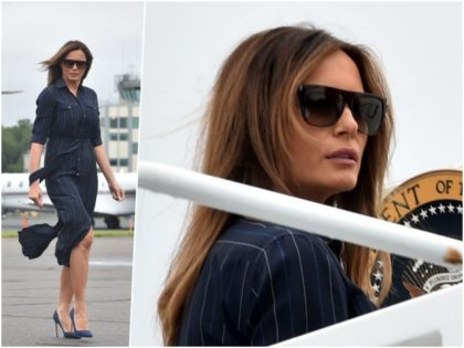 Fashion Notes: Melania Trump is All-American in Ralph Lauren Pinstripes