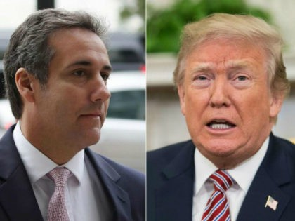 Combo photo of Michael Cohen and President Trump