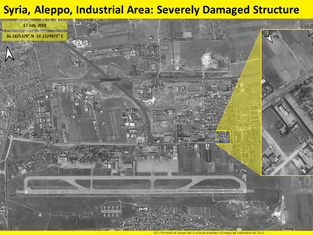 TEL AVIV - Satellite images released by an Israeli company Tuesday showed the destruction of a building in a deadly airstrike said to have been carried out by Israel on a Syrian airfield earlier this week.