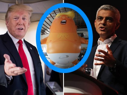 "U.S. President Donald Trump (L) and London Mayor Sadiq Khan (R). Khan has authorized the flyover of a giant ""baby"" balloon in Trump's likeness during the president's upcoming trip to the United Kingdom."