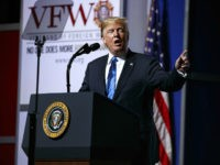 President Donald Trump speaks during the Veterans of Foreign Wars of the United States National Convention on, Tuesday, July 24, 2018, in Kansas City, Mo. (AP Photo/Evan Vucci)