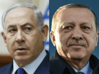 This combination of pictures created on April 1, 2018 shows a file photo taken on November 19, 2017 of Israel's Prime Minister Benjamin Netanyahu (L) attending the weekly cabinet meeting in Jerusalem and a file photo taken on December 15, 2017 of Turkish President Recep Tayyip Erdogan during the inauguration …