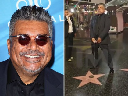 Comedian George Lopez urinates on President Donald Trump's Hollywood star.