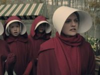 Elisabeth Moss, Jenessa Grant, Madeline Brewer, and Bahia Watson in The Handmaid's Tale (Hulu, 2017)