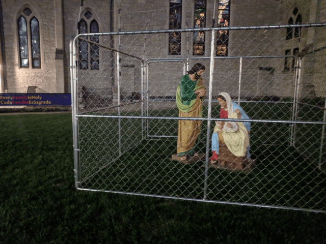 "An Indianapolis church is putting Jesus, Mary, and Joseph in a cage to protest President Trump's ""zero-tolerance"" policy cracking down on illegal immigration."
