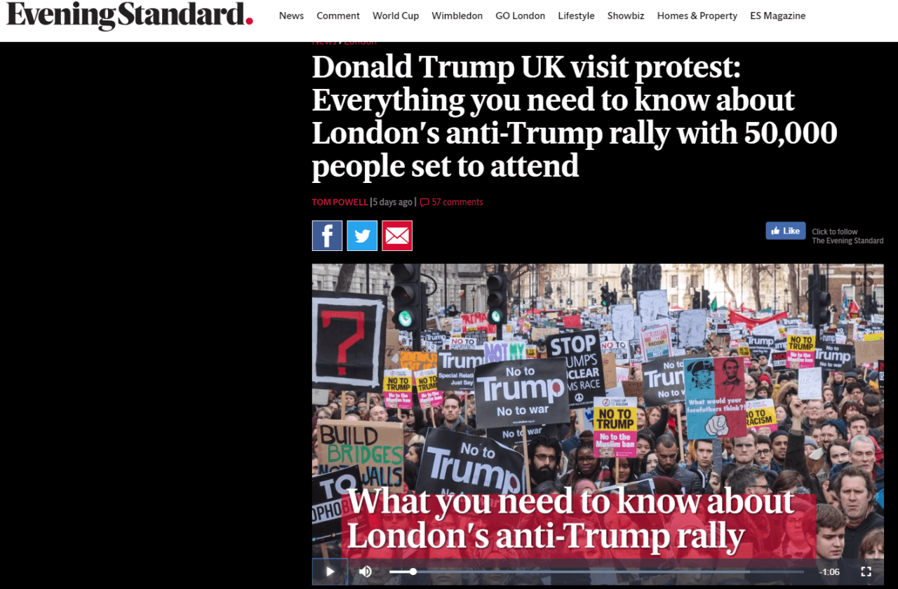 US Embassy in London alerts Americans of possible violence during Trump visit