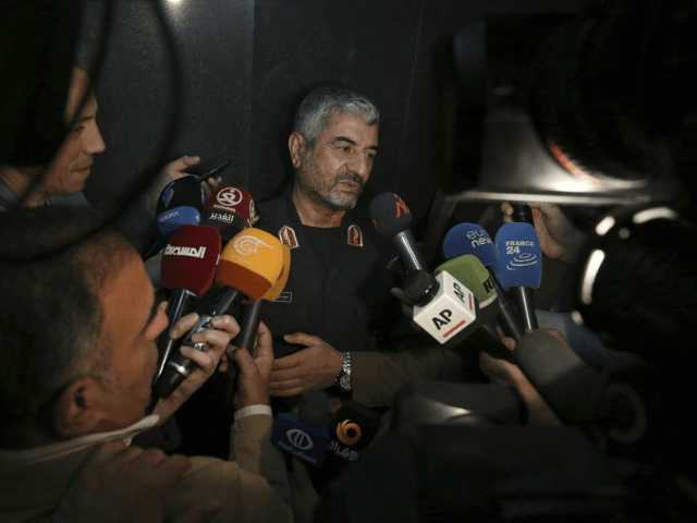 "The head of Iran's paramilitary Revolutionary Guard Gen. Mohammad Ali Jafari speaks with journalists after his speech at a conference called ""A World Without Terror,"" in Tehran, Iran, Tuesday, Oct. 31, 2017. Jafari said Tuesday that the country's supreme leader has limited the range of ballistic missiles it makes to …"