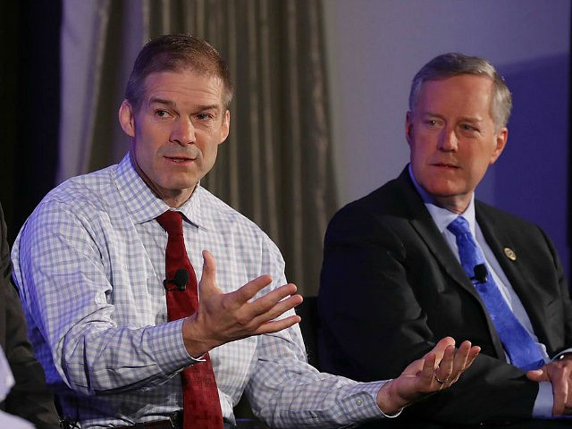 WASHINGTON, DC - APRIL 06: Members of the House Freedom Caucus, (L-R) Rep. Justin Amash (R-MI), Rep. Jim Jordan (R-OH) and Chairman Mark Meadows (R-NC) participate in a Politico Playbook Breakfast interview at the W Hotel on April 6, 2017 in Washington, DC. (Photo by Mark Wilson/Getty Images)