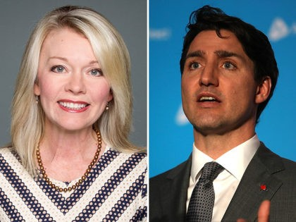 Canadian Member of Parliament Candice Bergen (L) and Prime Minister Justin Trudeau (R).