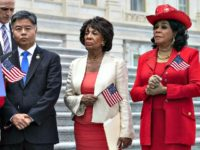 Rep. Ted Lieu, D-Calif., Rep. Maxine Waters, D-Calif. (center), and Rep. Frederica Wilson, D-Fla., are shown in Washington, Wednesday, June 20, 2018.