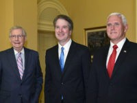 Senate Majority Leader Mitch McConnell of Ky., left, poses for a photo with Supreme Court nominee Brett Kavanaugh, center, and Vice President Mike Pence, right, as they visit Capitol Hill in Washington, Tuesday, July 10, 2018. Kavanaugh is on Capitol Hill to meet with Republican leaders as the battle begins …