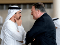 US Secretary of State Mike Pompeo (R) and Abu Dhabi's Crown Prince Sheikh Mohammed bin Zayed Al Nahyan meet at Al-Shati Palace in Abu Dhabi? on July 10, 2018. - Pompeo is on a trip traveling to North Korea, Japan, Vietnam, Afghanistan, Abu Dhabi, and Brussels. (Photo by Andrew Harnik …