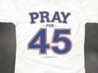 "The Billy Graham Bookstore is now offering a new ""Pray for 45"" t-shirt in answer to Walmart's controversial anti-Donald Trump ""Impeach 45"" shirt."