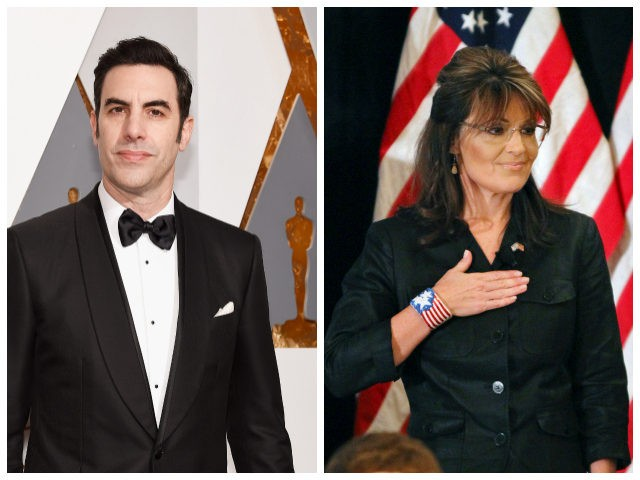 Cohen: HOLLYWOOD, CA - FEBRUARY 28: Actor Sacha Baron Cohen attends the 88th Annual Academy Awards at Hollywood & Highland Center on February 28, 2016 in Hollywood, California. (Photo by Kevork Djansezian/Getty Images) Palin: Former Alaska Gov. Sarah Palin covers her heart during the national anthem as she attends a …
