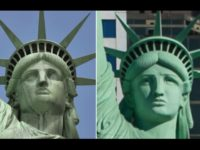 The Statue of Liberty in New York, and the smaller replica in Las Vegas