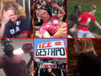 Collage of Trump supporters being attacked or harassed in public.